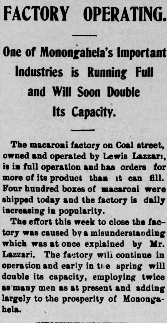 lazzari macaroni factory 12 february 1904 -