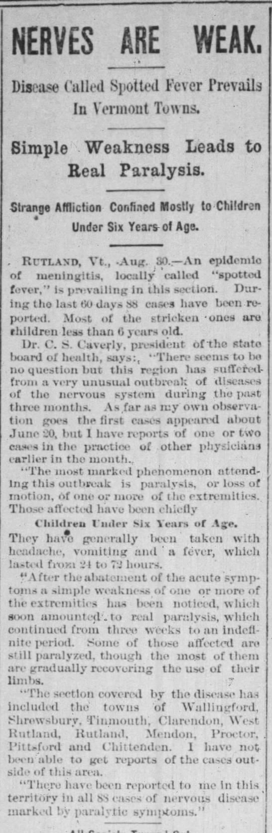 First cases of polio (spotted fever) noted in Vermont in 1894 -