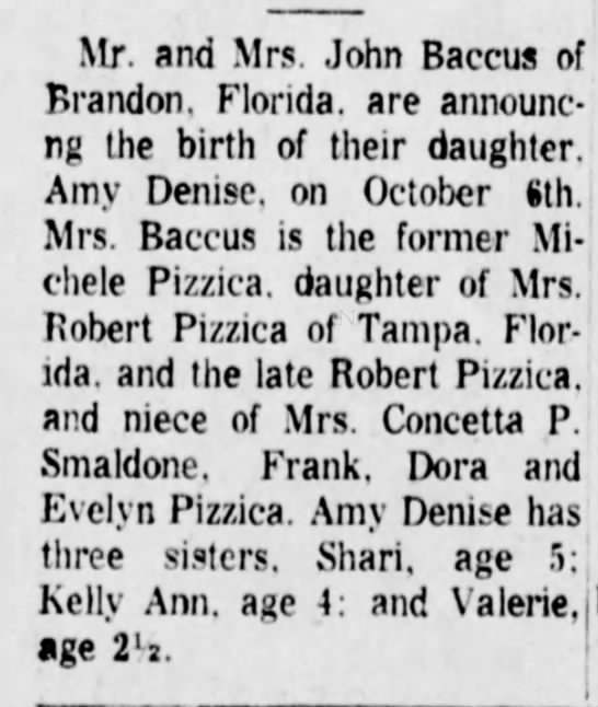 Amy Baccus birth announcement The Daily Republican 1 Nov 1967 -