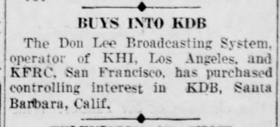 Don Lee Acquires KDB 6/12/1931 -