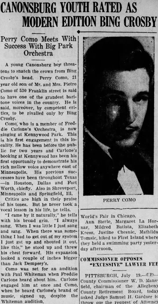 Perry Como first known press story 1934 -