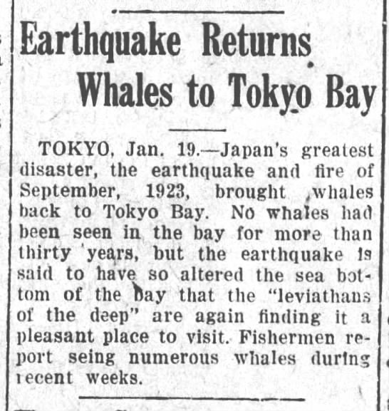 Whales that migrated to Alaska due to pending earthquake returned in 1925! -