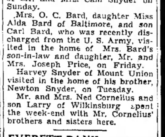 Mrs. O.C., Alda, carl, visit-TDN-p4-19 Jan 1946 - Sunday. .Mrs. O. C. Bard, daughter Miss Alda...