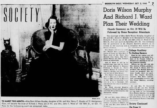 Doris Murphy Wedding Announcement -