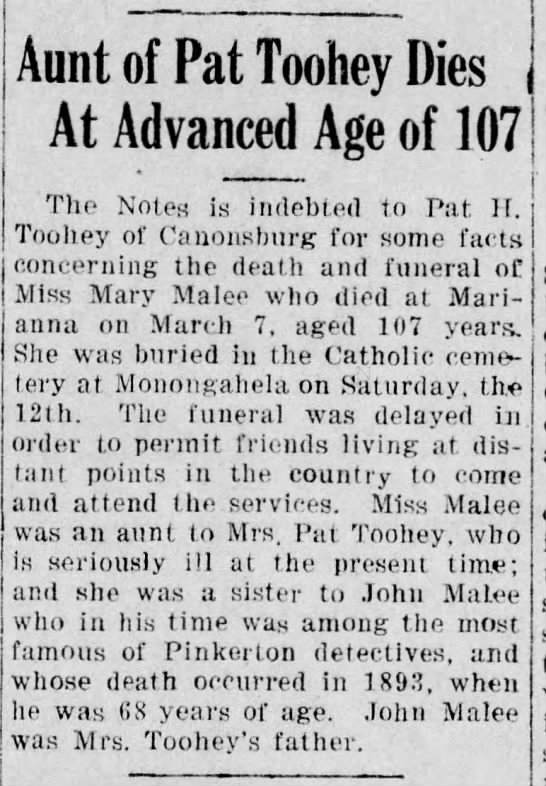 Malee Mary sister to John Malee, Sr.  -