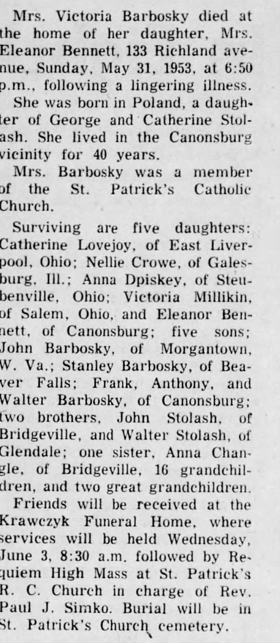 Victoria Stolash Barbosky, death 1953--Sister of John Stolash -