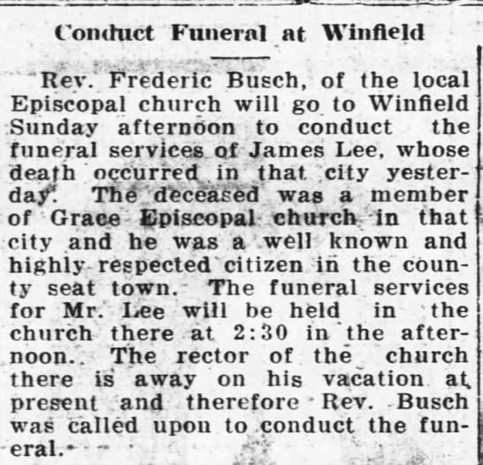 James Lee funeral services -