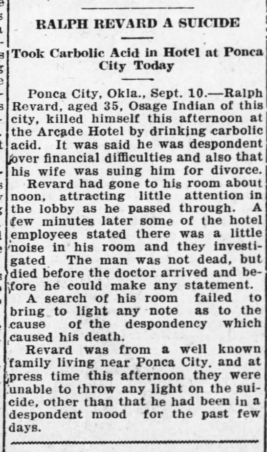 Ralph Revard A Suicide 10 Sep 1921 AR City Daily Traveler_AR City KS -