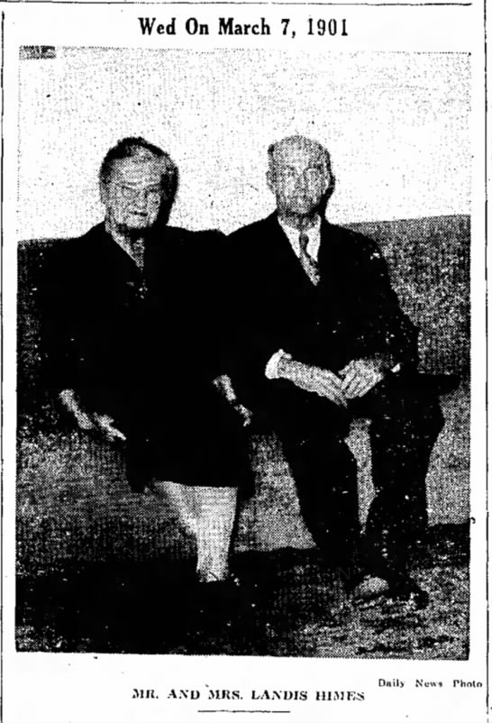 Landis & Nettie Himes-anniversary-TDN-7 March 1946-page 6 - Wed On March 7, 1901 Mrt. A.\D MRS. IvAXDIS...