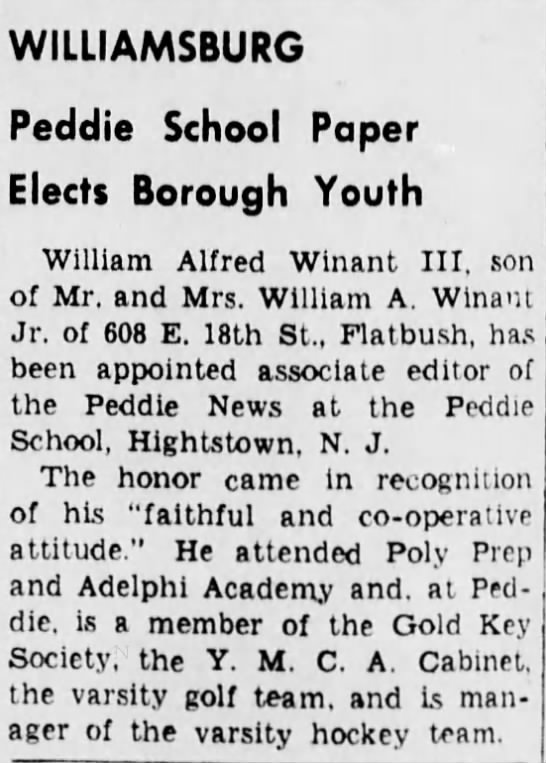 William AlfredWinant III appointed school paper editor -