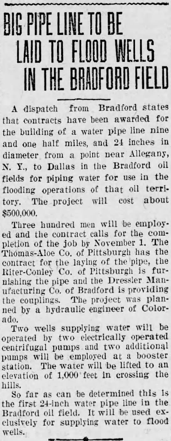 Water pipe line for Bradford oil field 9 AUG 1929 -