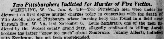 The News Herald 8 January 1931 Louis Zambrano Indicted for Murder -