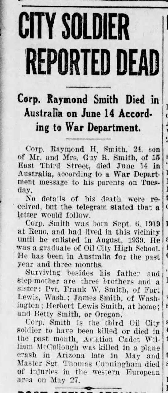 Corp. Raymond H Smith death -