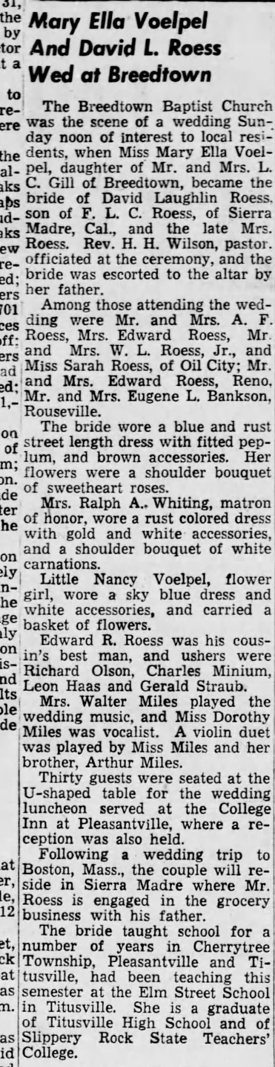 Roess-Voelpel Wed 23 Jan 1949, The News-Herald, Franklin, PA, pg 9 -