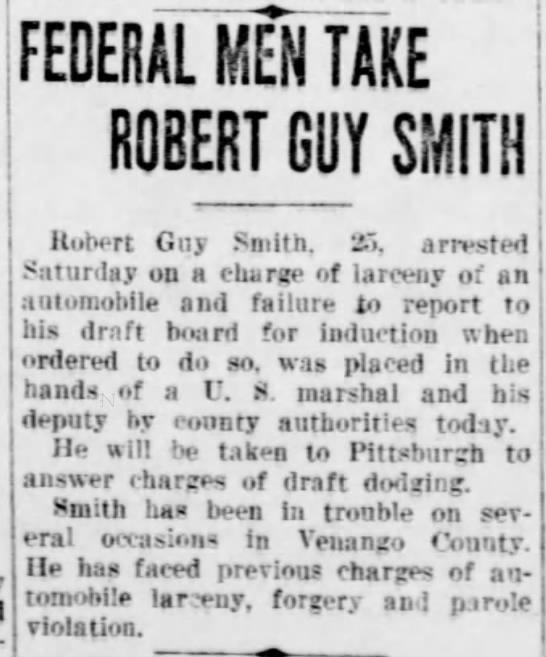 Robert Guy Smith draft dodging -