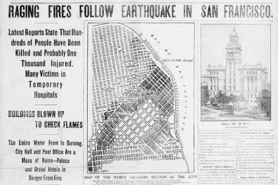 Fires follow 1906 earthquake -