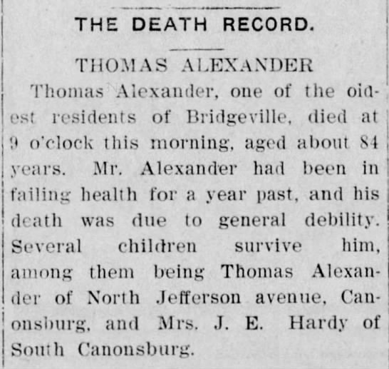 Obit-Alexander,Thomas-16 June 1906 -