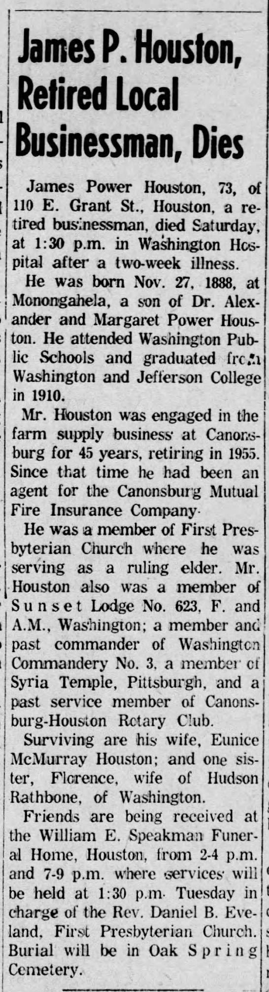 Houston James P Obit TDN Monday 5 Feb 1962 -