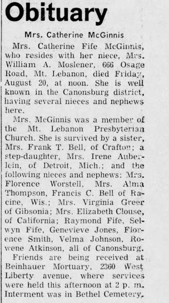 Catherine Fife McGinnis Obit.  Daily Notes 23 August 1948 Page 7 -