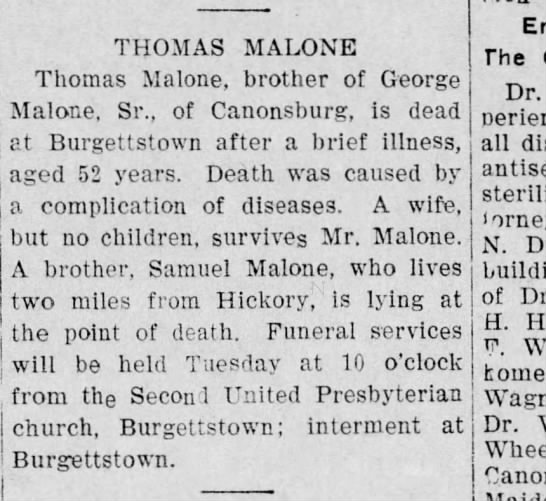 Thomas Malone death