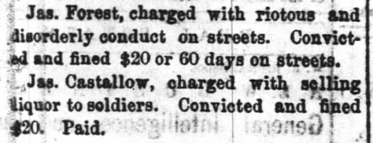 riotous and disorderly conduct, 20 fine or 60 days labor on streets -