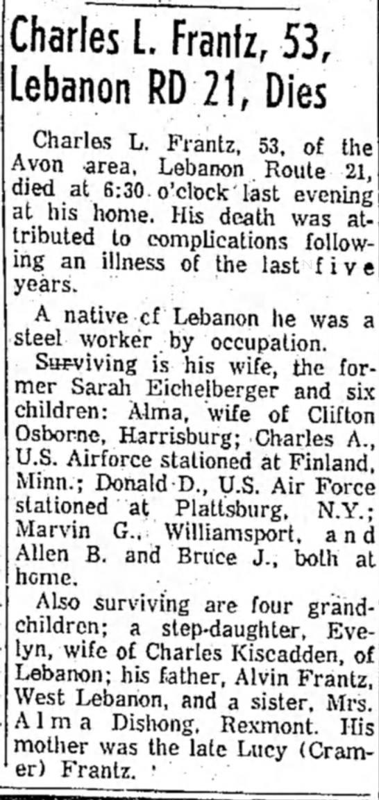 Frantz Charles L. obit 12 Oct 1957 LDN -