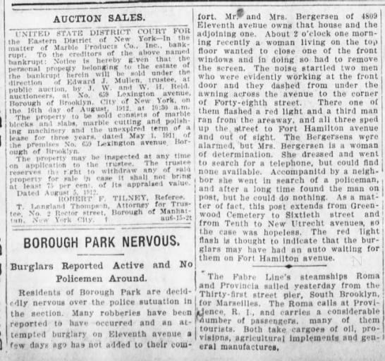 Borough Park neighborhood residents are nervous after attempted burglary, 1912 -