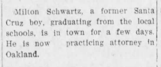 Milton Schwartz, attorney, in town -