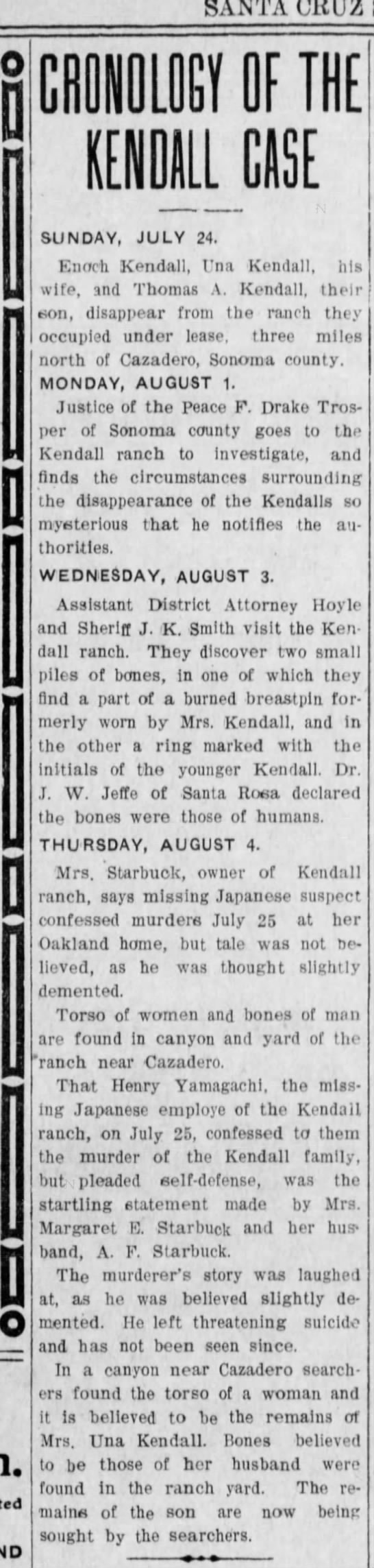 Kendall chronology - 6 Aug 1910 -