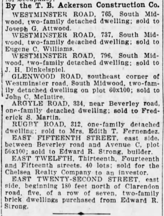1905-10-21 Ackerson sales in what is now West Midwood but was West South Midwood -