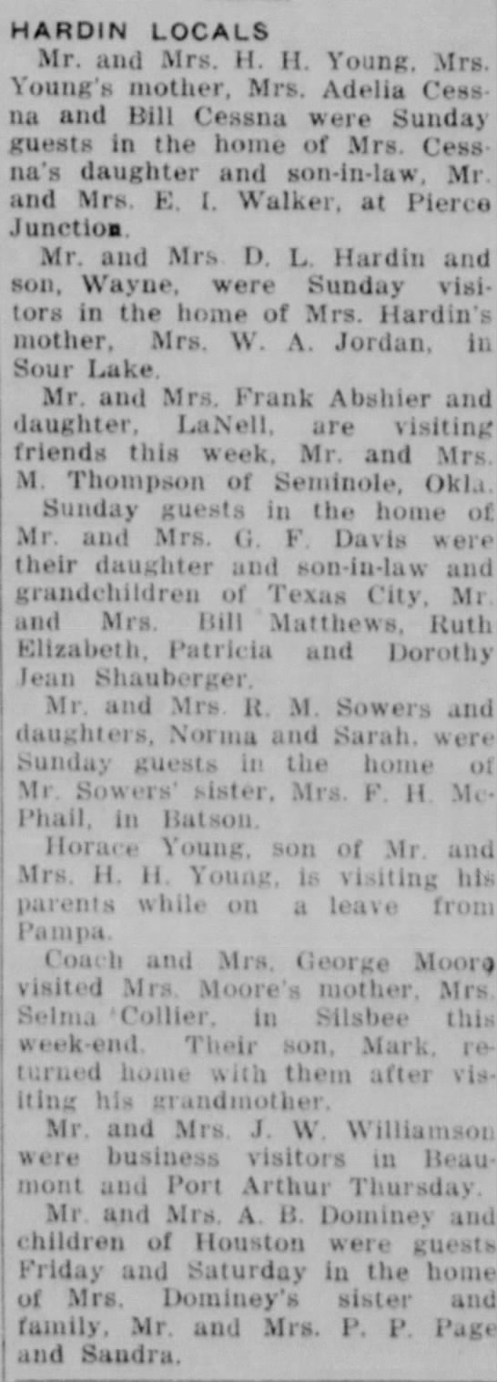 Frank, Patricia, LaNelle Abshier, J.W. Williamson, Horace Young, Adelia Cessna -