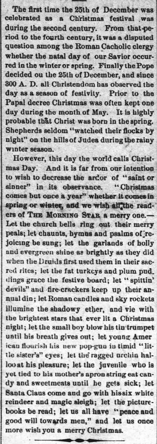 History of Christmas Celebrations - The Wilmington  Morning Star (Wilmington, NC), Dec. 25, 1874, p1 -