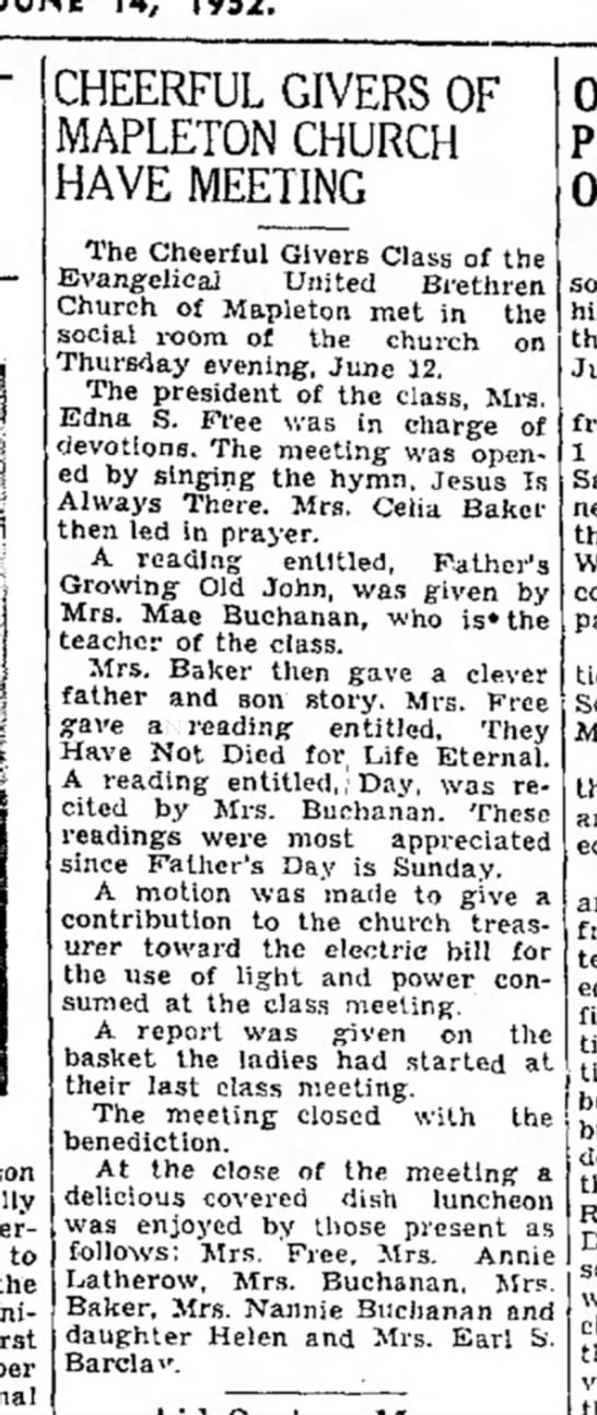 May Robley Buchanan gives reading-TDN-p.5-14 June 1952 -