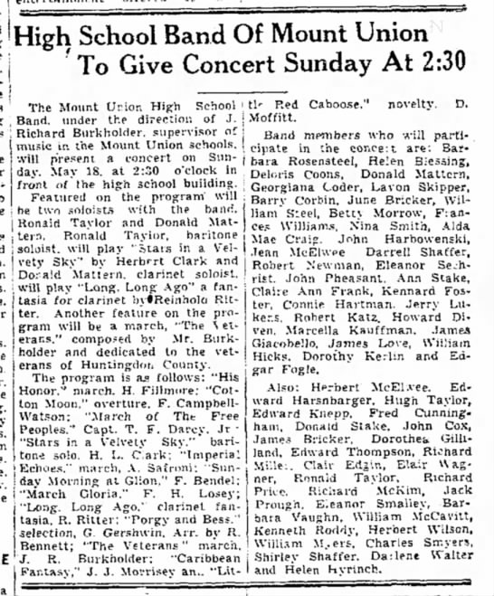 Helen Blessing-High School Band-TDN 17 May 1947 -
