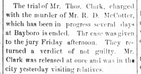 RD McCotter Murder Trial - The trial of Mr. Tims. Clark, charged with the...