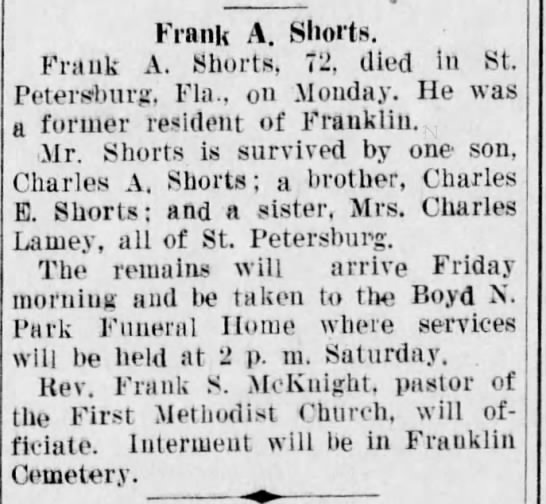 Frank Abrams Shorts Obituary 1944 -