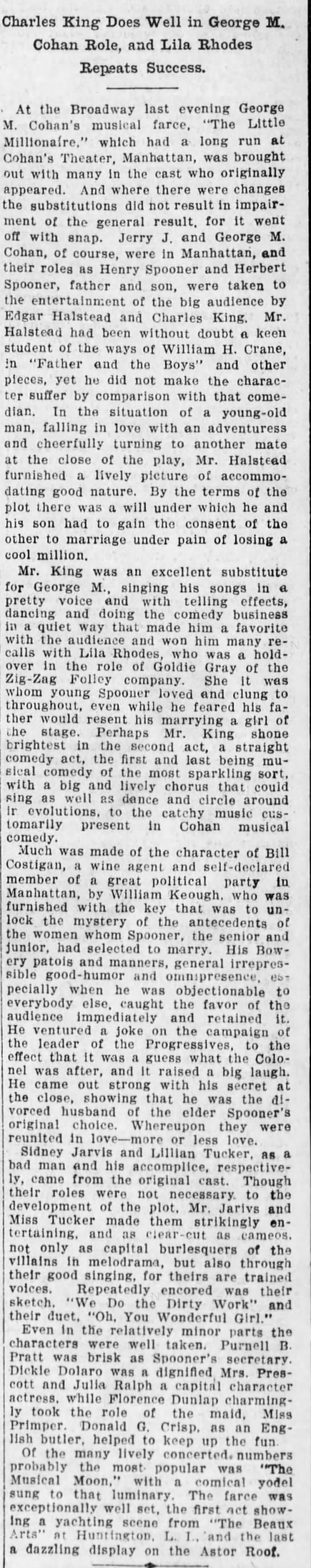 Little Millionaire - more details 24Sept1912 p26 Brooklyn Daily Eagle -