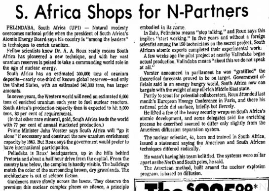 South Africa shops for uranium enrichment partners (1975) -