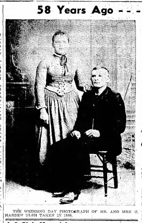 M/M C. Harden Ulsh wedding 1888-TDN-p.3-27 Jan 1947 -