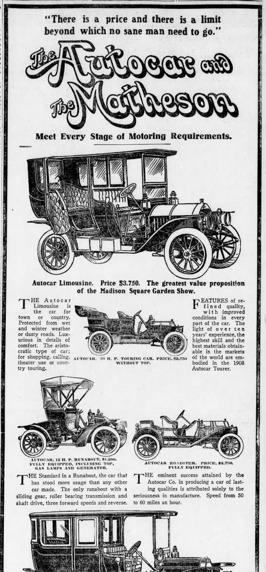 "Matheson Automobile Co. - j ""There is a price and there is a limit beyond..."