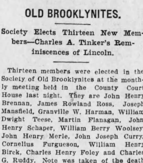 James Rowland Ross Membership in the Old Brooklynites -