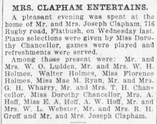 1909-2-21 716 Rugby Rd Mrs Clapham entertains guest list -