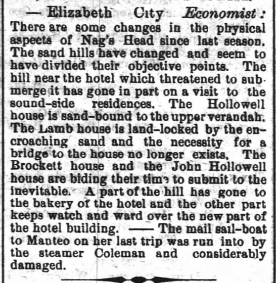 Nags Head - The Wilmington Morning Star - March 14, 1886 -