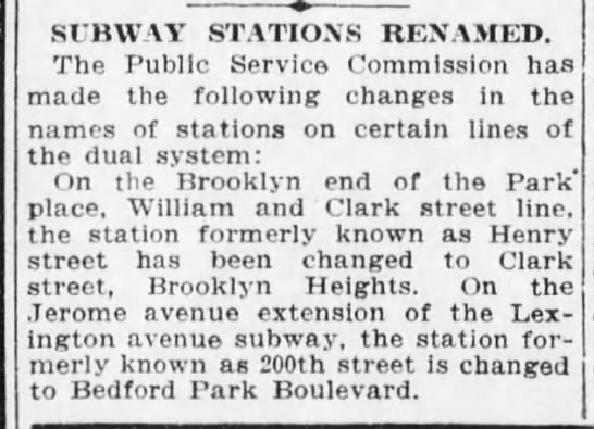 Subway renames, April 11, 1915 -