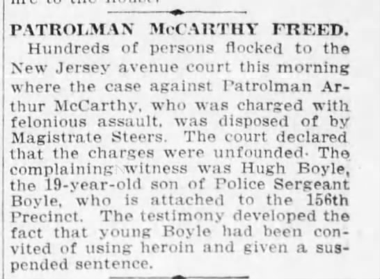 arthur mccarthy patrolman - freed on unfounded charges of felonious assault 1915 april 26 -