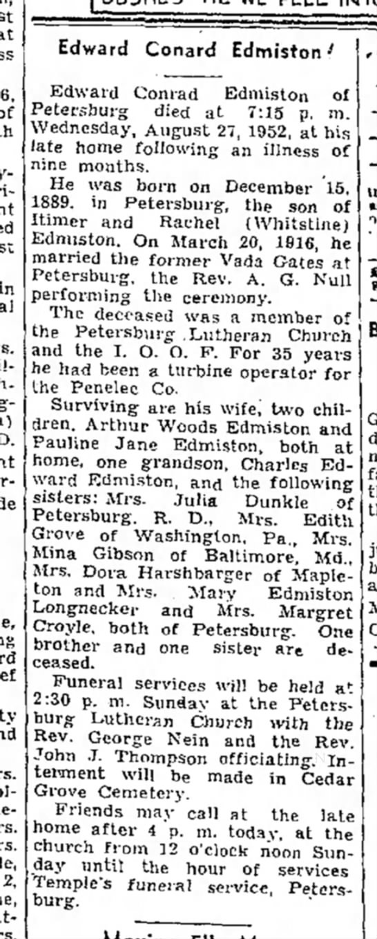 Edward Conrad Edmiston-TDN-p.6-28 August 1952 -