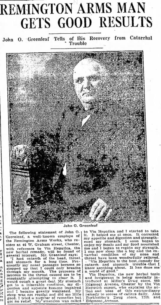 JOHN O. GREENLEAF  ADD. jUNE 13,1916 -