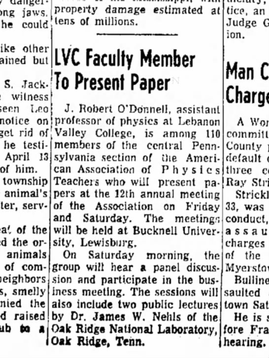 1965 April 21 Dr. O'Donnell presents paper -