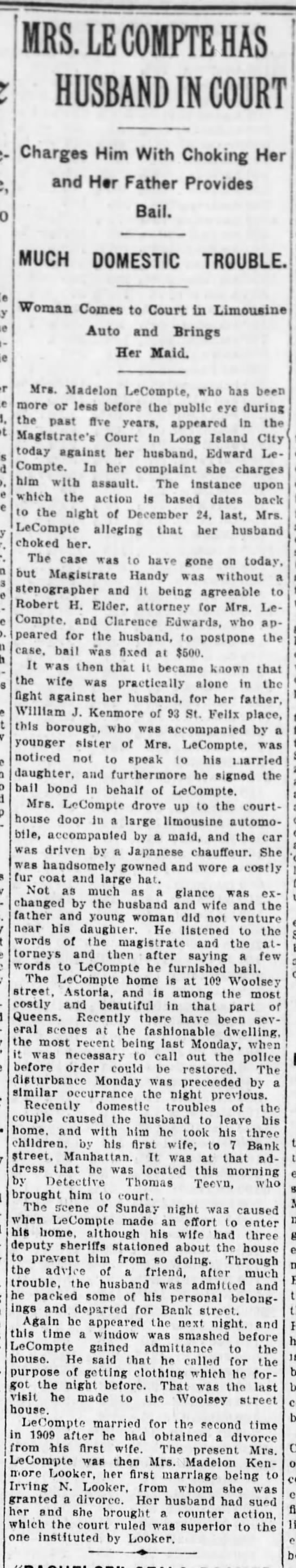 Brooklyn Daily EAgle pg 16 8 Jan 1913 Mrs LeCompte has husband in Court -