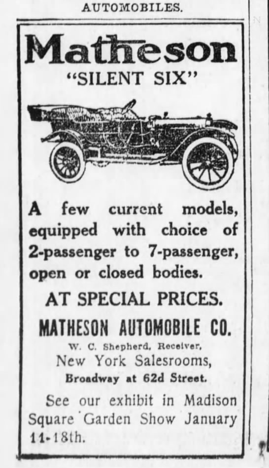 "Matheson Automobile Co. - AUTOMOBILES. Mattlfeson ""SILENT SIX"" g A few..."